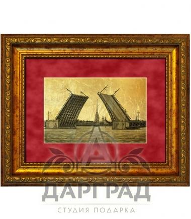 """Картина на золоте """"Мосты Санкт-Петербурга"""""""