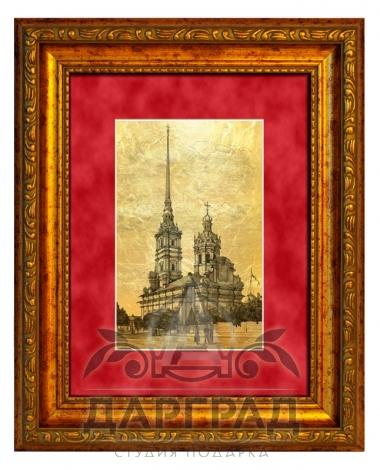 """Купить Картина на золоте """"Петропавловский собор"""" в магазине подарков Dargrad.ru"""