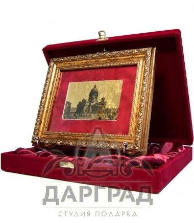 """Картина на золоте """"Исаакиевский собор"""" в подарочной коробке"""